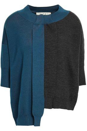 MARNI Asymmetric two-tone wool sweater
