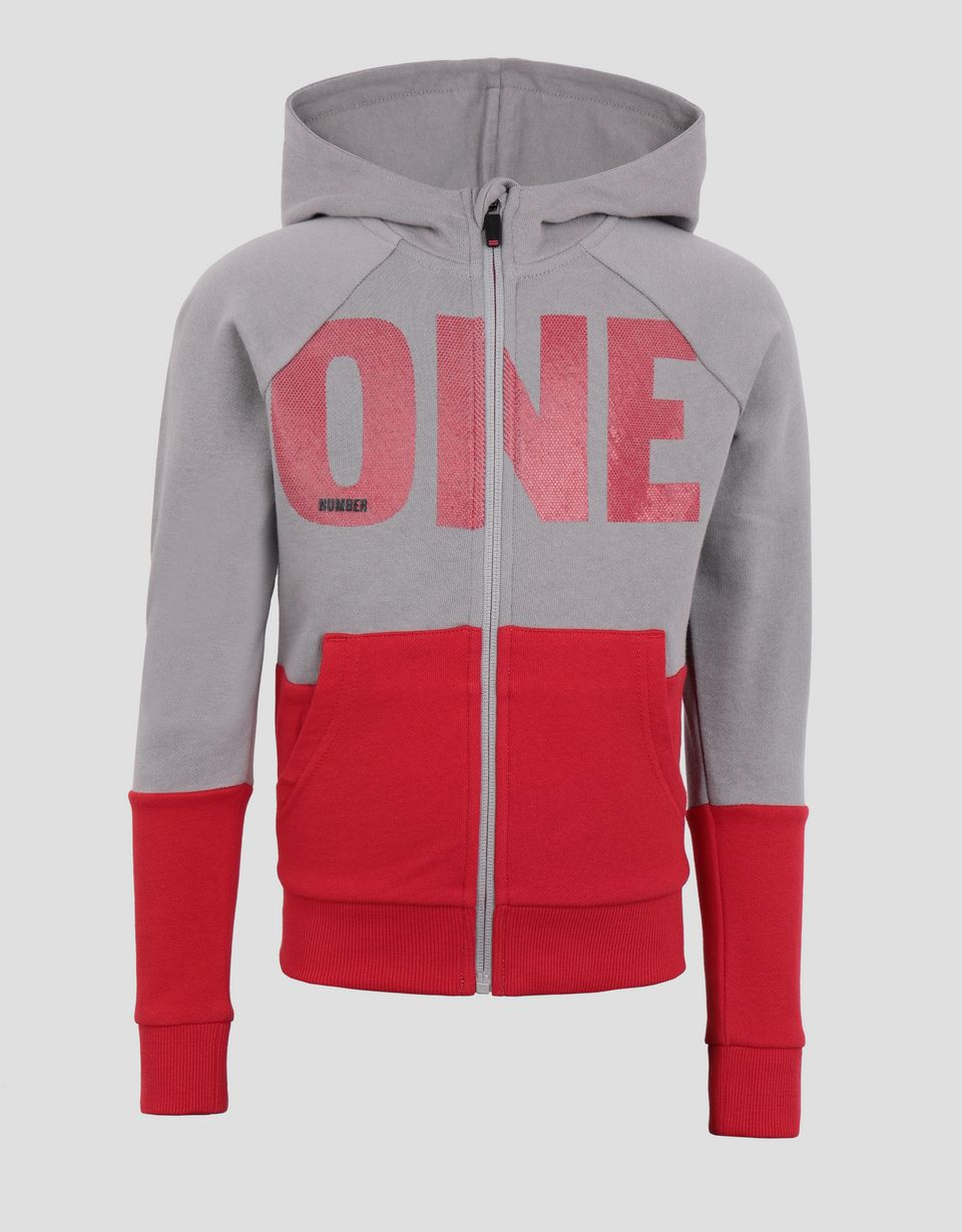 Scuderia Ferrari Online Store - Boy's sweatshirt in French Terry with print and hood - Zip Hood Jumpers