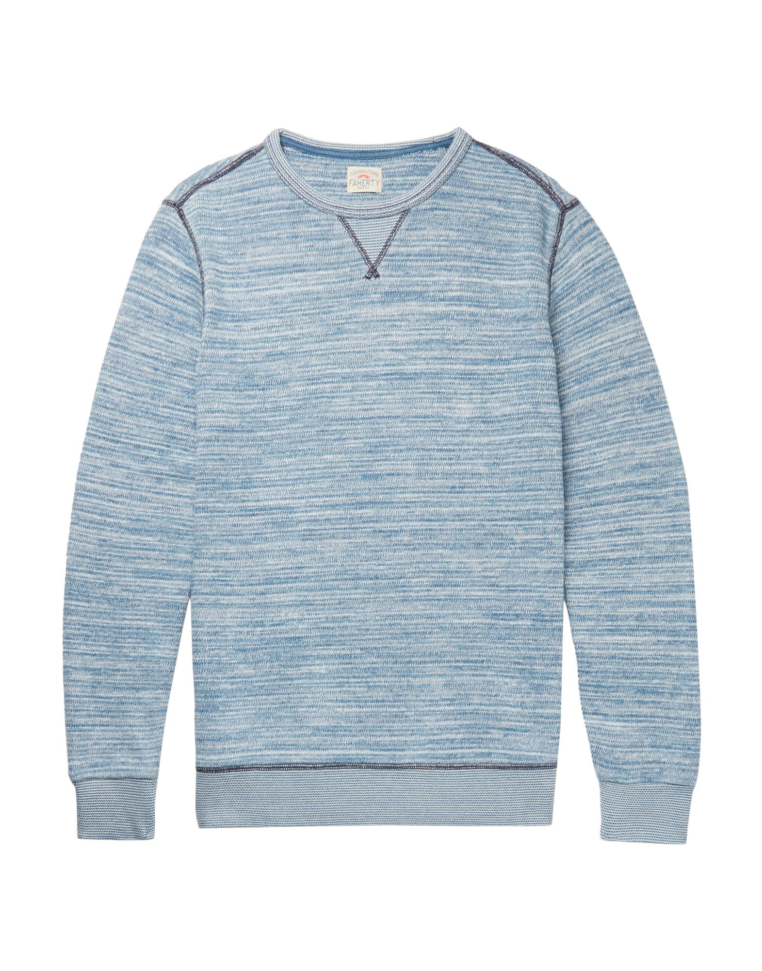 FAHERTY Sweatshirts. long sleeves, multicolor pattern, logo, mélange, round collar, knitted, no pockets. 100% Cotton