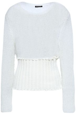 ANN DEMEULEMEESTER Open-knit mohair-blend and ribbed-knit sweater