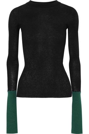 MARNI Paneled ribbed-knit sweater