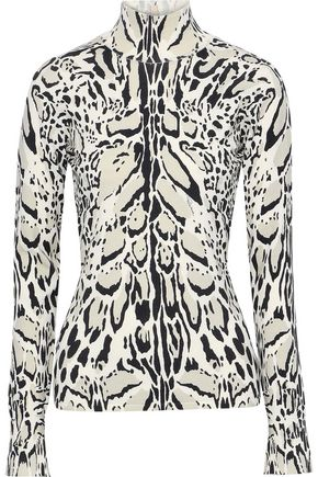 ROBERTO CAVALLI Open-back leopard-print wool, cashmere and silk-blend top