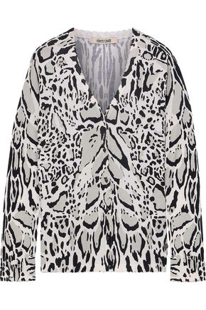 ROBERTO CAVALLI Leopard-print wool, cashmere and silk-blend cardigan
