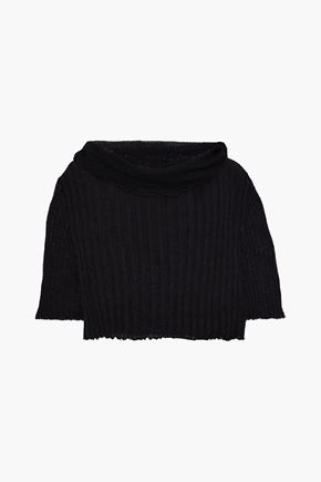 ANN DEMEULEMEESTER Ashgate distressed ribbed mohair, alpaca and silk-blend sweater