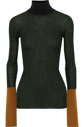 MARNI Paneled ribbed-knit turtleneck sweater