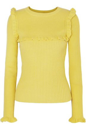 SEE BY CHLOÉ Ruffle-trimmed ribbed alpaca-blend sweater