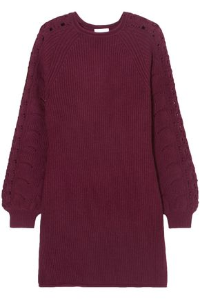 SEE BY CHLOÉ Crochet-trimmed ribbed-knit mini dress