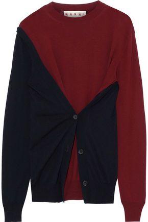 MARNI Two-tone layered wool sweater