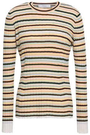 PRINGLE OF SCOTLAND Striped ribbed merino wool sweater