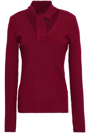 ELIE TAHARI Adelise tie-neck ribbed merino wool-blend top