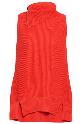 ELIE TAHARI Susanita zip-detailed ribbed wool and cashmere-blend top