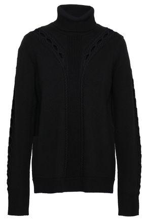 ELIE TAHARI Carmelo open knit-trimmed merino wool turtleneck sweater