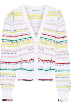 THOM BROWNE Frayed striped cotton-blend cardigan
