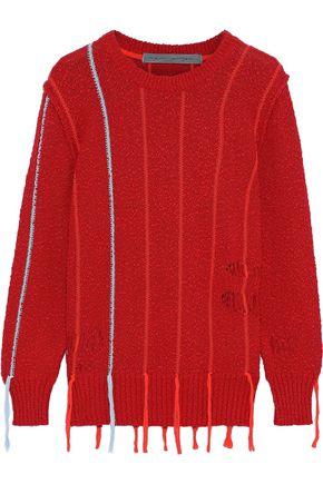 RAQUEL ALLEGRA Tasseled distressed bouclé-knit cotton sweater
