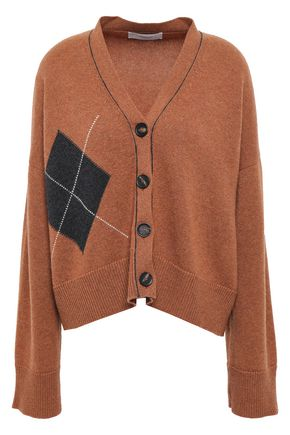 PRINGLE OF SCOTLAND Cropped intarsia cashmere cardigan