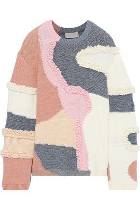 PETER PILOTTO Patchwork-effect metallic cotton-blend bouclé sweater