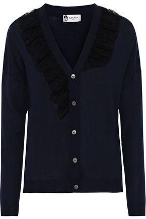LANVIN Ruffled lace-trimmed wool-blend cardigan