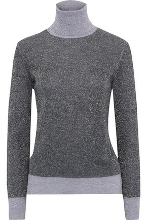 JOSEPH Two-tone metallic merino wool-blend turtleneck sweater