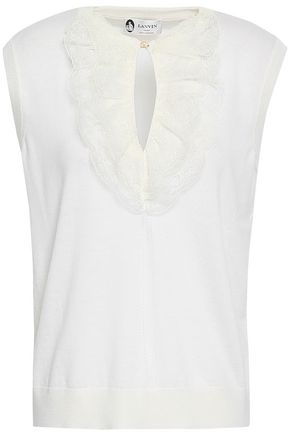 LANVIN Lace-trimmed wool top