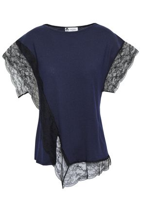 LANVIN Lace-trimmed wool-blend top