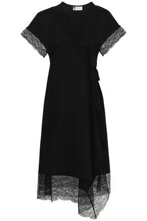 LANVIN Lace-trimmed wool-blend wrap dress