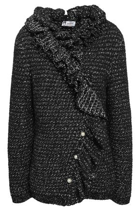 LANVIN Ruffled faux pearl-embellished metallic tweed jacket