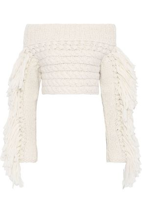 Off The Shoulder Tasseled Cable Knit Alpaca Blend Sweater by Philosophy Di Lorenzo Serafini