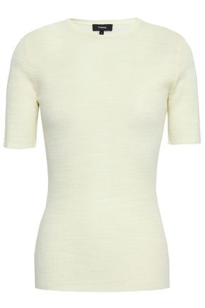 THEORY Mélange ribbed merino wool and cotton-blend top