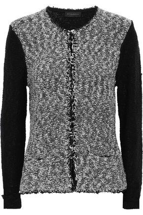 DONNA KARAN Frayed cotton-blend bouclé cardigan