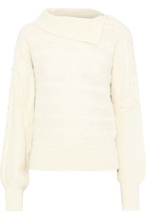 PHILOSOPHY di LORENZO SERAFINI Faux pearl-embellished cable-knit wool-blend sweater