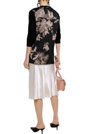 DONNA KARAN Floral-print silk-paneled cotton and linen-blend cardigan
