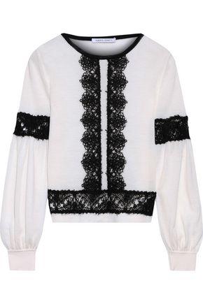 ALBERTA FERRETTI Crochet-trimmed wool sweater