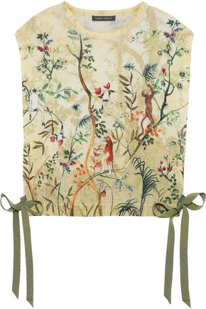 Bow Detailed Printed Wool Top by Alberta Ferretti