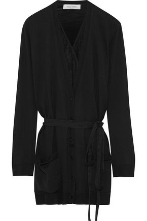 VALENTINO Layered lace-paneled wool cardigan