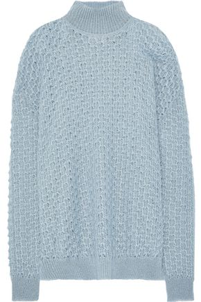 JIL SANDER Open-knit mohair and silk-blend turtleneck sweater
