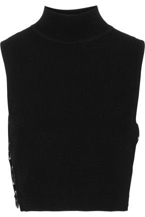 CUSHNIE Aria cropped ring-embellished ribbed-knit turtleneck top