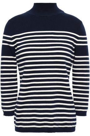 LA LIGNE Cotton-blend striped stretch-cotton turtleneck top