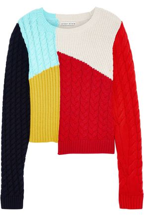 ALICE + OLIVIA Lebell color-block patchwork wool-blend sweater