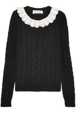 PHILOSOPHY di LORENZO SERAFINI Crochet-trimmed cable-knit sweater