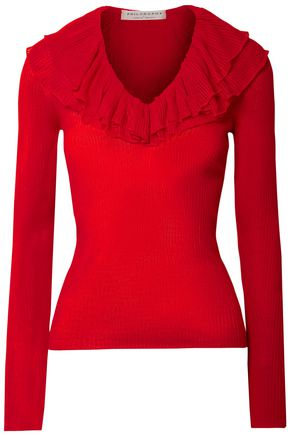 PHILOSOPHY di LORENZO SERAFINI Ruffled ribbed-knit sweater