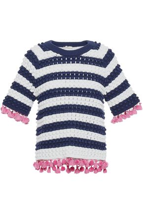 KATE SPADE New York Pom pom and tassel-trimmed striped cotton sweater