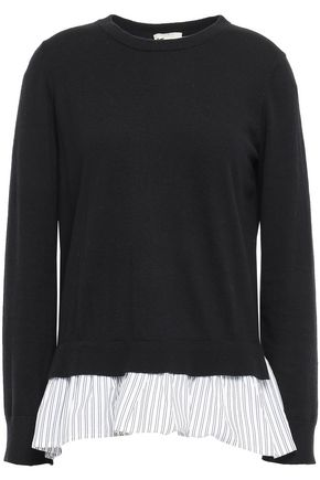 KATE SPADE New York Ruffled poplin-paneled cotton-blend sweater