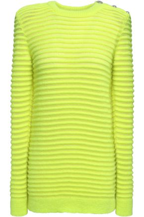 BALMAIN Neon ribbed mohair-blend sweater
