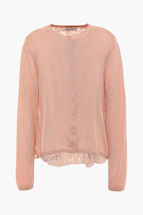 VALENTINO Virgin wool and lace-paneled cardigan