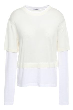 ALEXANDERWANG.T Layered merino wool and cotton-blend sweater