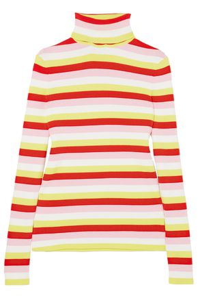 LA LIGNE Ribbed striped stretch-cotton turtleneck top