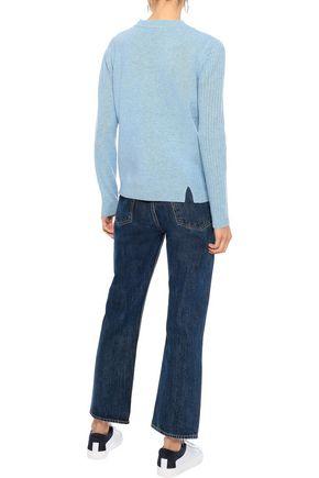 IRIS & INK Hertha asymmetric paneled mélange wool sweater
