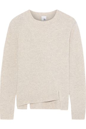 IRIS & INK Hertha asymmetric paneled mélange wool sweater