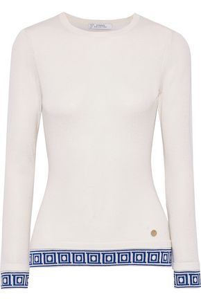 VERSACE COLLECTION Jacquard-trimmed silk and cashmere-blend sweater