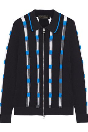 VERSACE Mesh-trimmed ribbed-knit cardigan